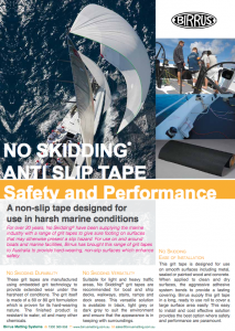 No Skidding Grit Tapes for Yachts Datasheet